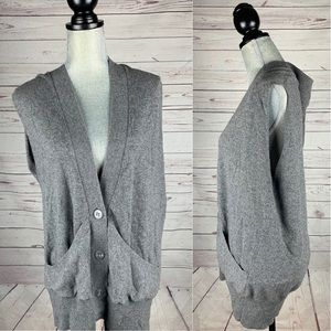 Vince Cashmere Grey Sweater Vest Size M Relaxed